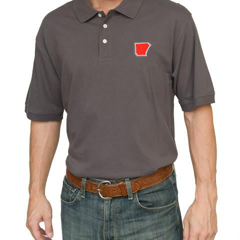 Arkansas Fayetteville Gameday Polo Grey