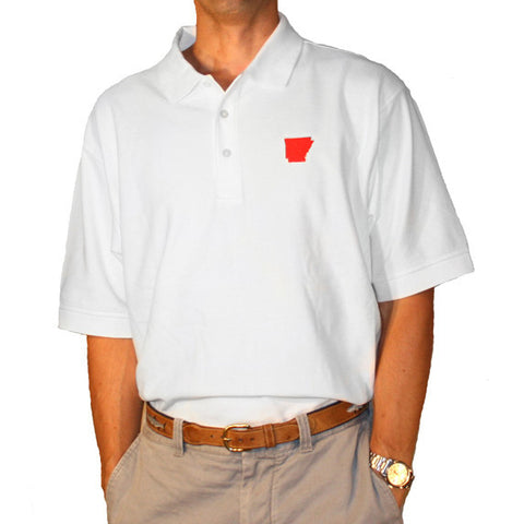 Arkansas Fayetteville Gameday Polo White