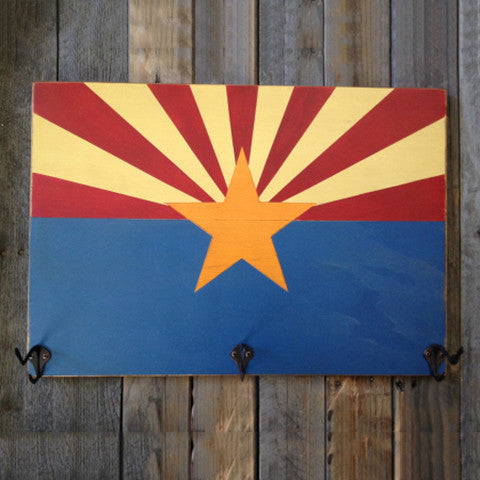 Hack Rack, Arizona Flag, Wall Art, Arizona Flag Hat Rack, Wooden Hat Rack, Arizona