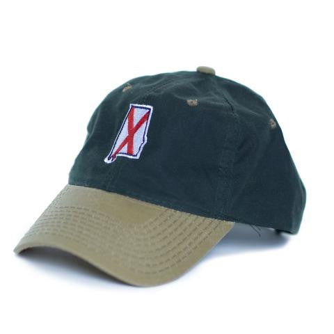 Alabama Traditional Hat Waxed Canvas Green w/ Tan