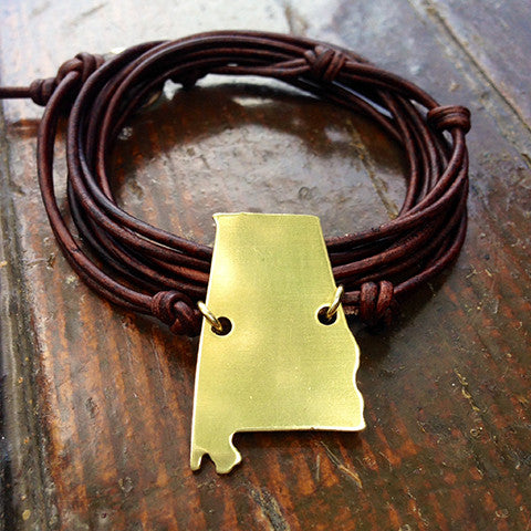 Alabama Love Strappy Leather Wrap Bracelet
