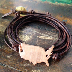 USA Love Strappy Leather Wrap Bracelet