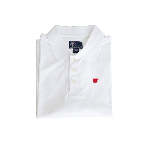 Arkansas Fayetteville Clubhouse Performance Polo White