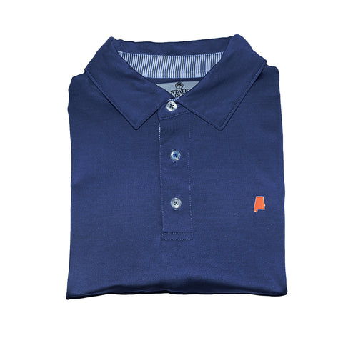 Alabama Auburn Gameday Signature Polo Navy