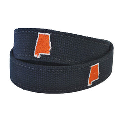 Alabama Auburn Gameday Embroidered Belt Navy