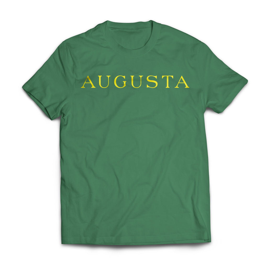 Green Augusta, Augusta Georgia, Green and Yellow, Yellow Augusta on Green, T-shirt, Green T-shirt, Golf Tee, Short Sleeve, Spring Tee, Tradition