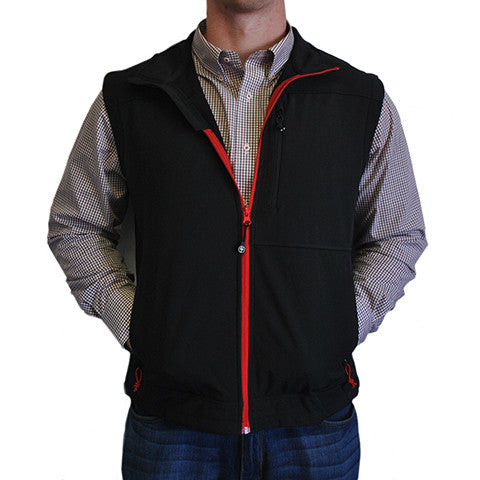 Soft Shell Vest Black with Red Trim