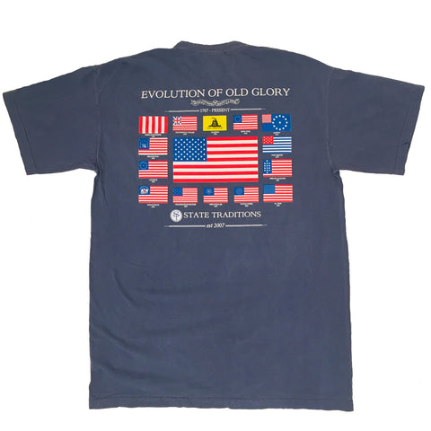 USA, America, Old Glory, Evolution of Old Glory, The Progression of Freedom,  navy tee, blue jean t-shirt, Flags of America, Gasden Flag, Betsy Ross Flag, USA, Timeless Tradition, Land of the Free and the Brave, Preppy shirt