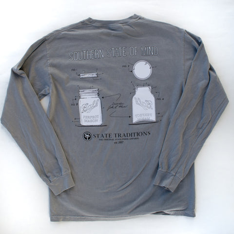 Mason Jar Long Sleeve T-Shirt Grey