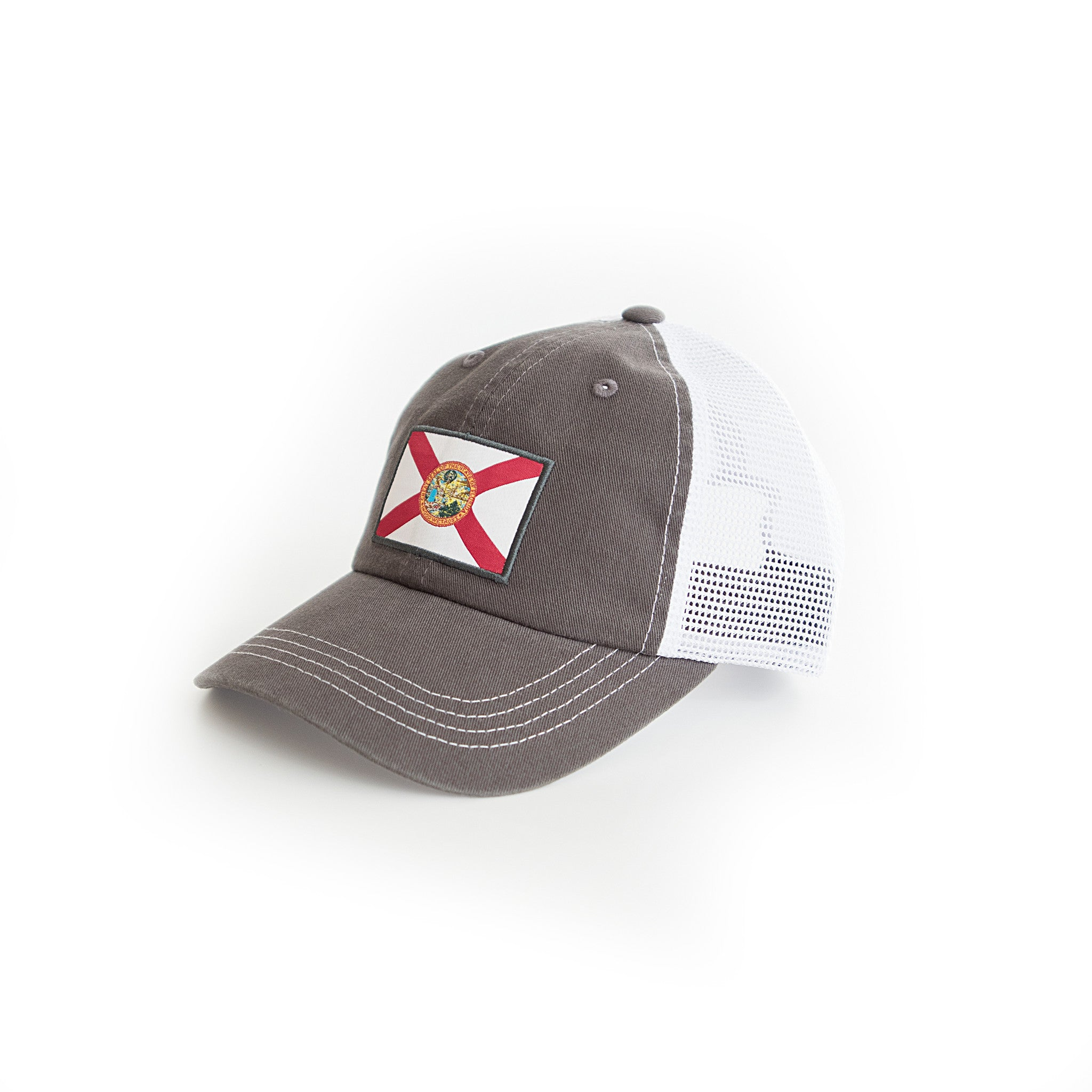 3612927c92b33 Charcoal Grey Florida State Flag Trucker Hat Side View