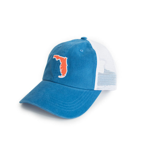 Florida Gainesville Gameday Blue Trucker Hat Side View