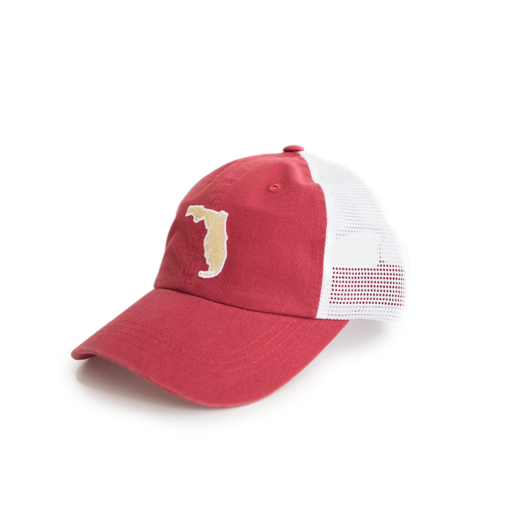 Florida Tallahassee Gameday Garnet Trucker Hat Side View