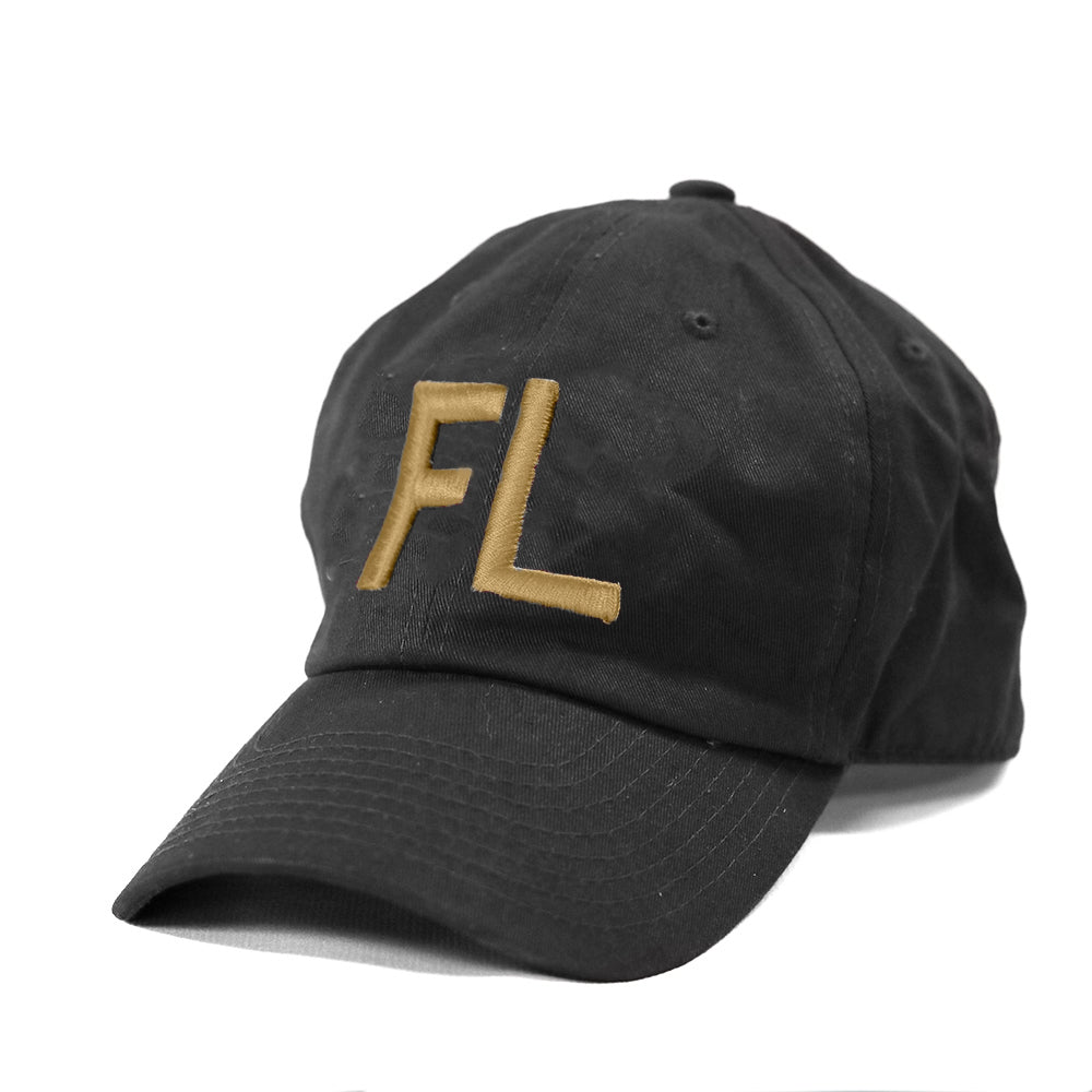 "Florida ""FL"" State Letters Hat Black and Gold"