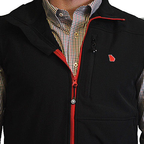 Georgia Athens Soft Shell Vest Black with Red Trim