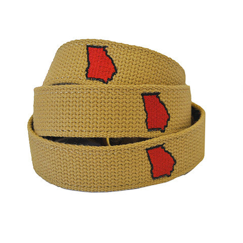 Georgia Athens Gameday Embroidered Belt Khaki
