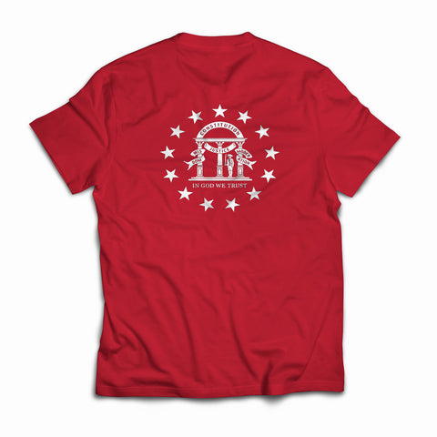 Georgia Flag Crest T-Shirt Red