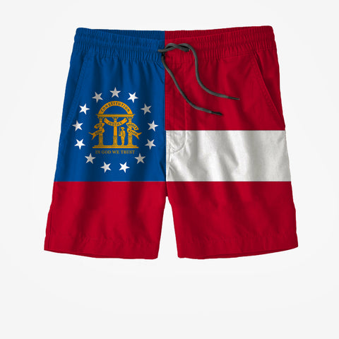 Georgia State Flag Swim Trunks