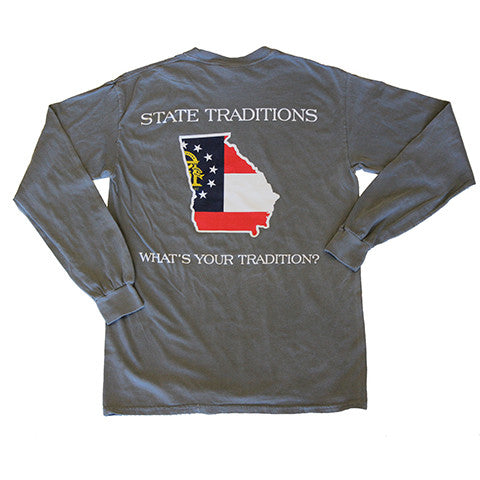 Georgia Traditional Long Sleeve T-Shirt Grey