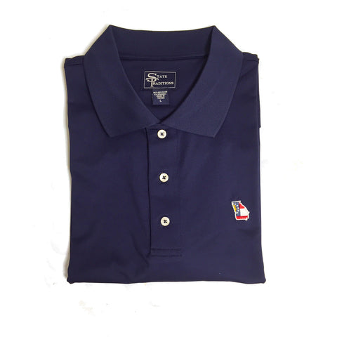 Georgia Flag Traditional Navy Clubhouse Performance Polo Gifts for men men's gifts Performance
