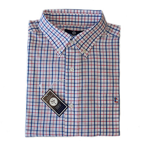 Georgia Traditional Tattersall Long Sleeve Shirt Red and Blue