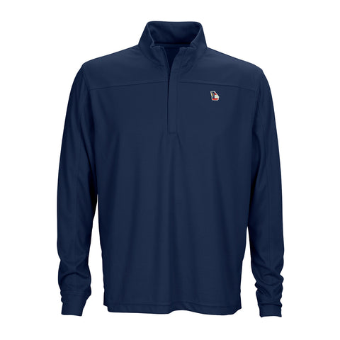 Georgia Traditional Herringbone 1/4 Zip Pullover Navy
