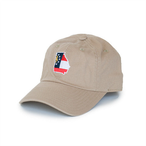 Georgia Classic Adjustable Khaki Hat. Georgia Traditional Hat, Georgia Cap, Peach State Pride.