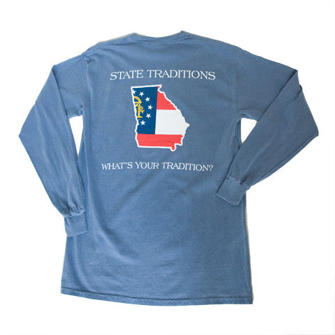 Georgia Traditional Long Sleeve T-Shirt Blue