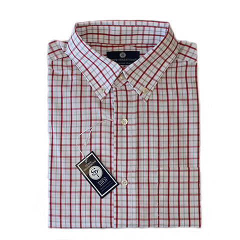 State Traditions Gameday Tattersall Long Sleeve Shirt Crimson and Grey
