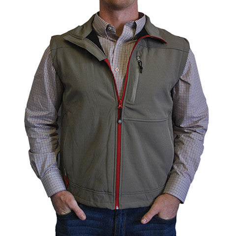 Soft Shell Vest Grey with Crimson Trim