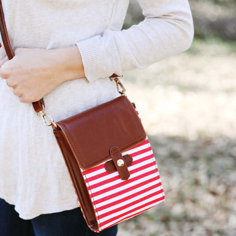 America Crossbody Bag Red and White