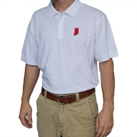 Indiana Gameday Polo, White Polo, 3 button, cotton/spandex blend, bloomington gameday