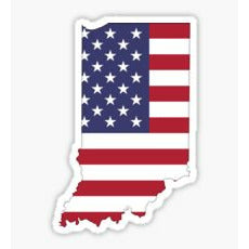 Indiana Flag Sticker State of Indiana USA Flag American Flag inside Indiana Patriot Flag Decal Patriot Sticker America Merica 'Merica