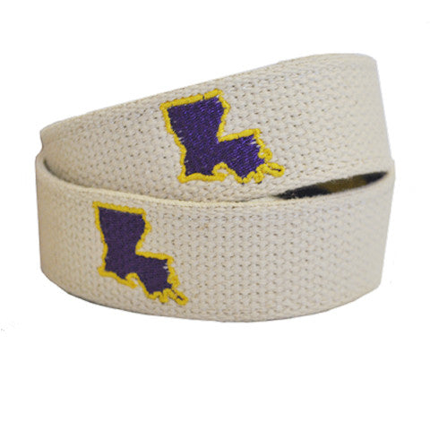 Louisiana Baton Rouge Gameday Embroidered Belt Natural