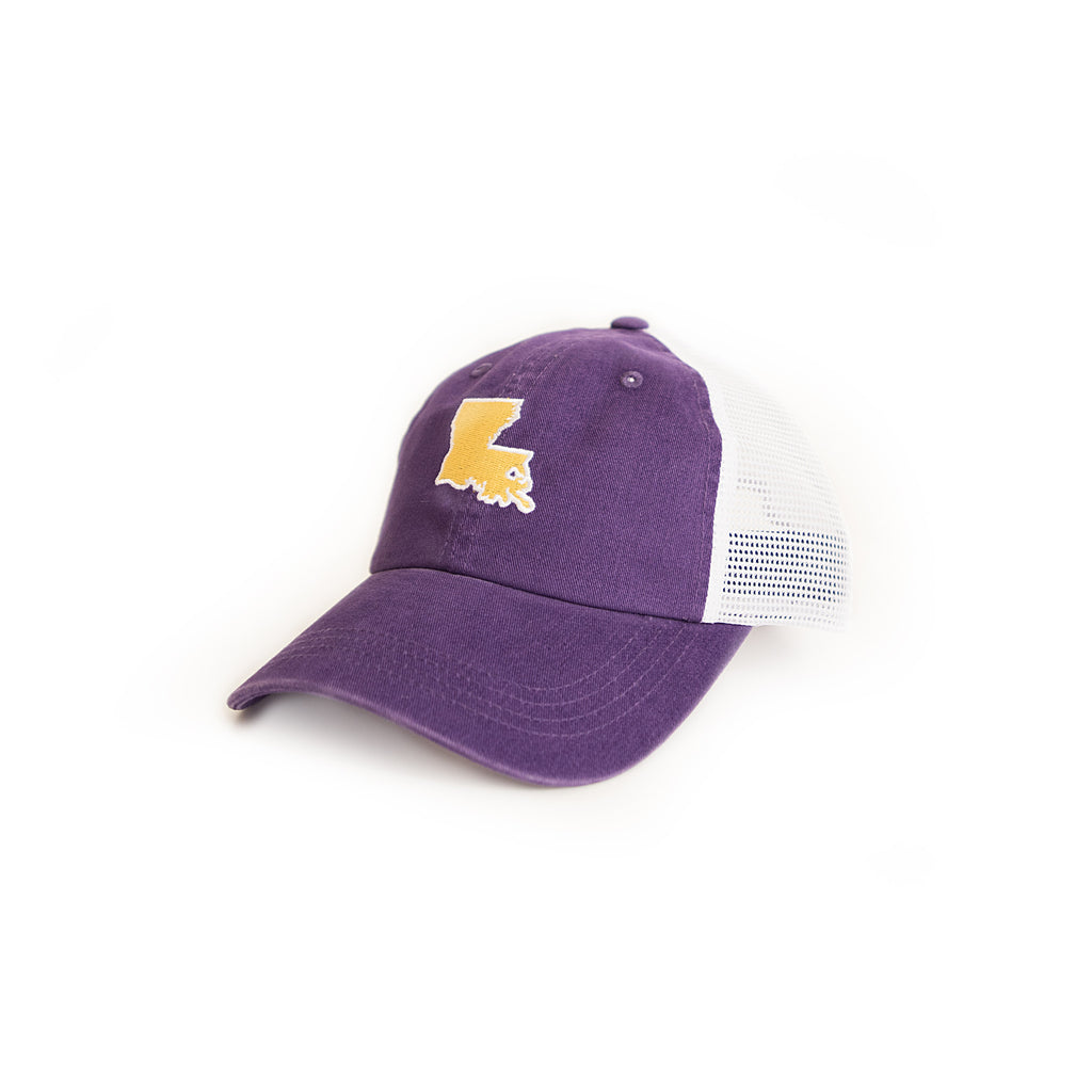 Louisiana Baton Rouge Gameday Purple Trucker Hat Side View