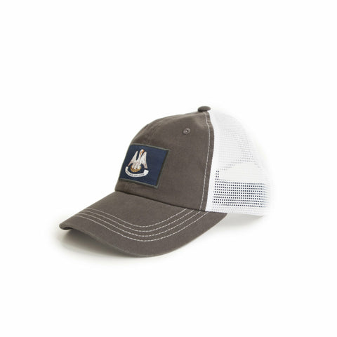 Louisiana Flag Charcoal Grey Trucker Hat Side View