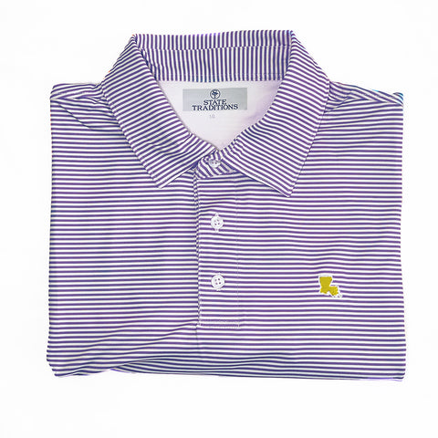 Louisiana Purple and Gold stripe performance polo