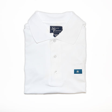 Louisiana Flag Performance Polo White