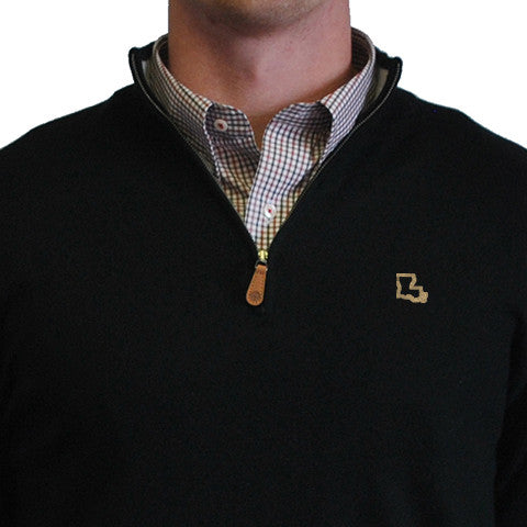 Louisiana, New Orleans Gameday, Who Dat Nation, Saints, Black 1/4 zip, Preppy, Perlis,