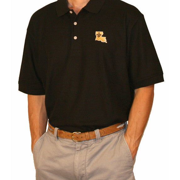 Who Dat Polo, Black Polo, 3 Button, Cotton/spandex blend, Perfect Polo, new orleans Gameday, Gameday Polo,