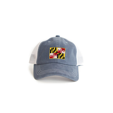 Maryland Flag Trucker Hat Blue