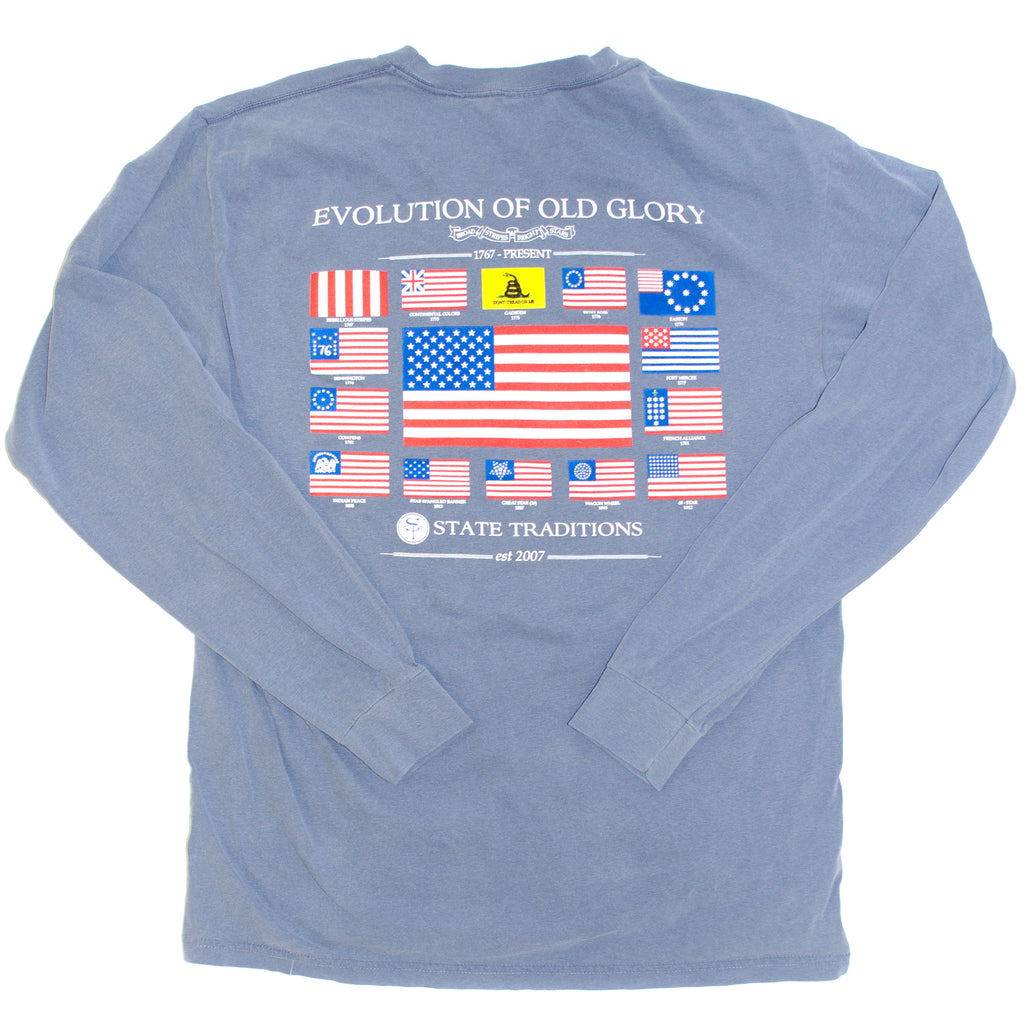 USA, America, Old Glory, Evolution of Old Glory, The Progression of Freedom,  navy tee, blue jean t-shirt. Long Sleeve Tee