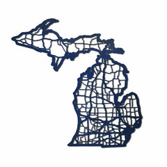 Michigan Laser Cut Wooden Wall Map Blue