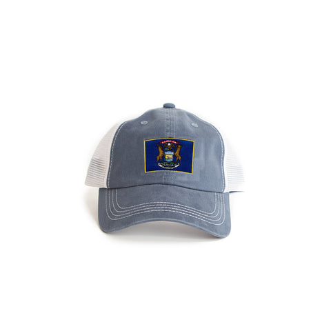 Michigan Flag Trucker Hat Blue
