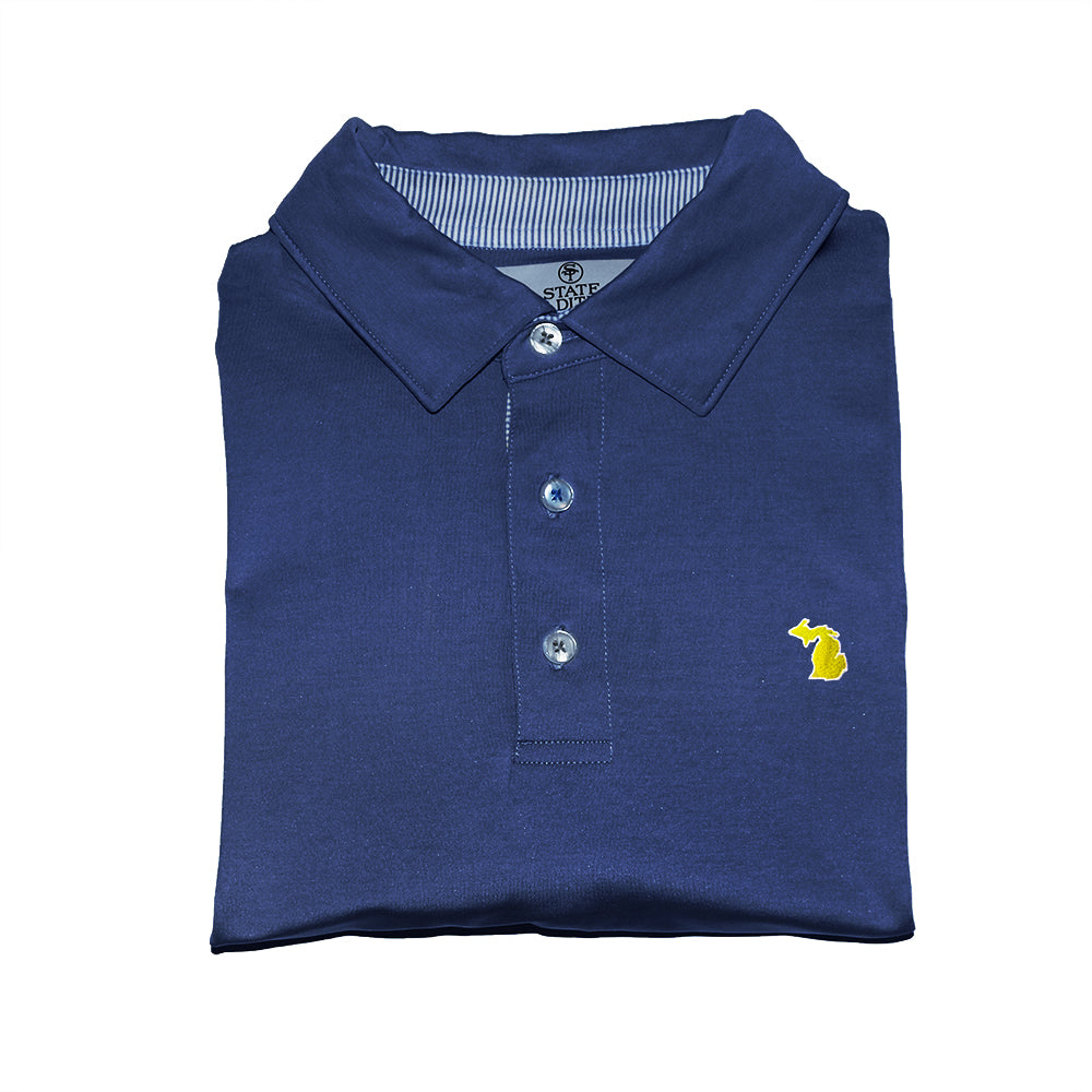 State Traditions Michigan Gameday Performance Polo Navy
