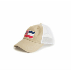 State of Mississippi Flag Khaki Trucker Hat Side View