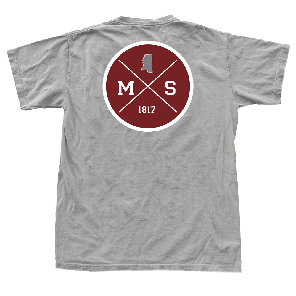 Mississippi Gameday Crossing T-Shirt Grey and Maroon