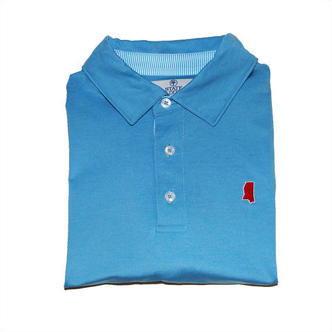 Mississippi Oxford Light Blue Performance Polo