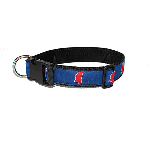 Mississippi Oxford Gameday Dog Collar Blue