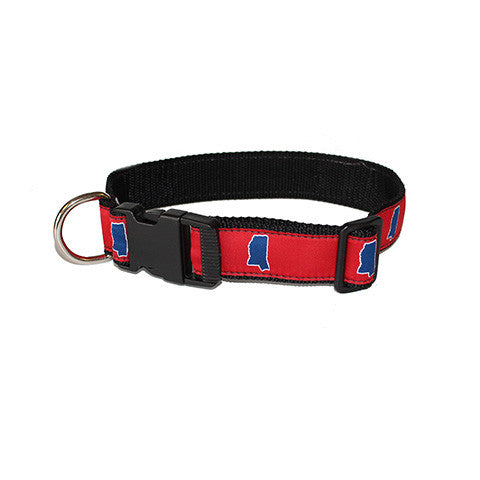 Mississippi Oxford Gameday Dog Collar Red