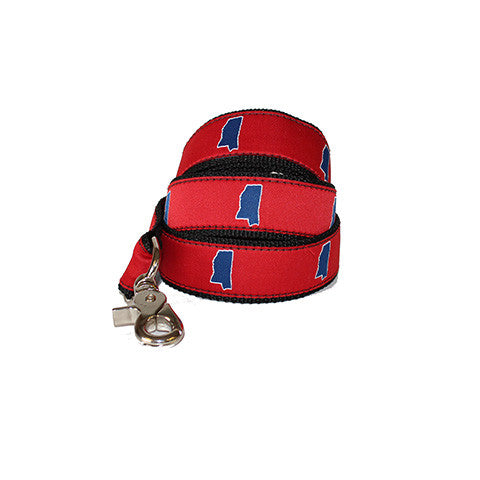 Mississippi Oxford Gameday Dog Leash/Lead Red